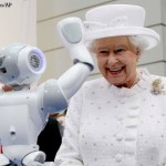 Explaining to Her Majesty the Queen how to enslave mankind by waving and wearing funny hats.